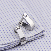 Bridegroom Wedding Evening Party Business Men French Shirts Cuff Links Arch Button Cufflinks Silvery Cufflink With Gift Bag