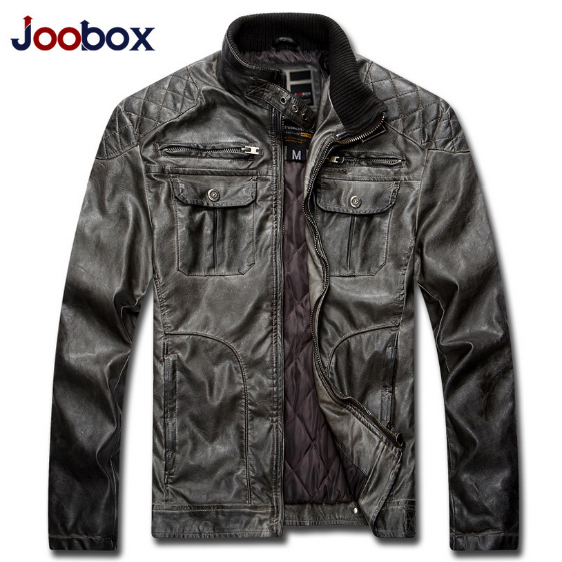 JOOBOX New Winter Casual Leather Jacket Men Retro PU Mens leather jacket Plus size 3XL Male Jackets Jaqueta de couro masculino
