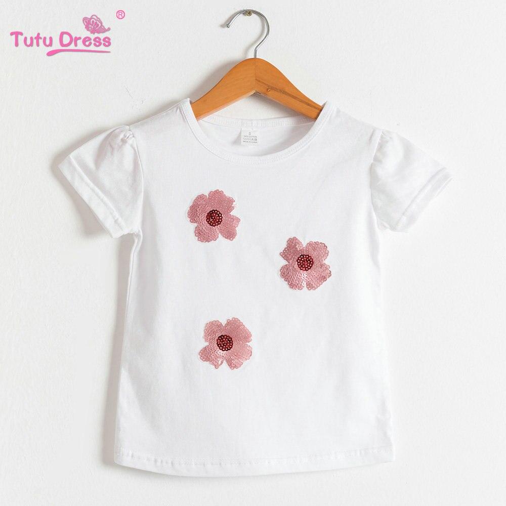 lentejuelas Bebé Del Verano Muchachas del Algodón de la Flor de la camiseta  y Tops Niños Camisetas Ropa Para 2-12 años 8a2fdfc1d79a