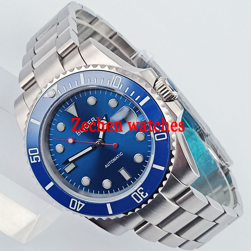 40mm Bliger Blue Dial Luminous Sapphire glass Automatic Steel Men's Casual Wrist Watch