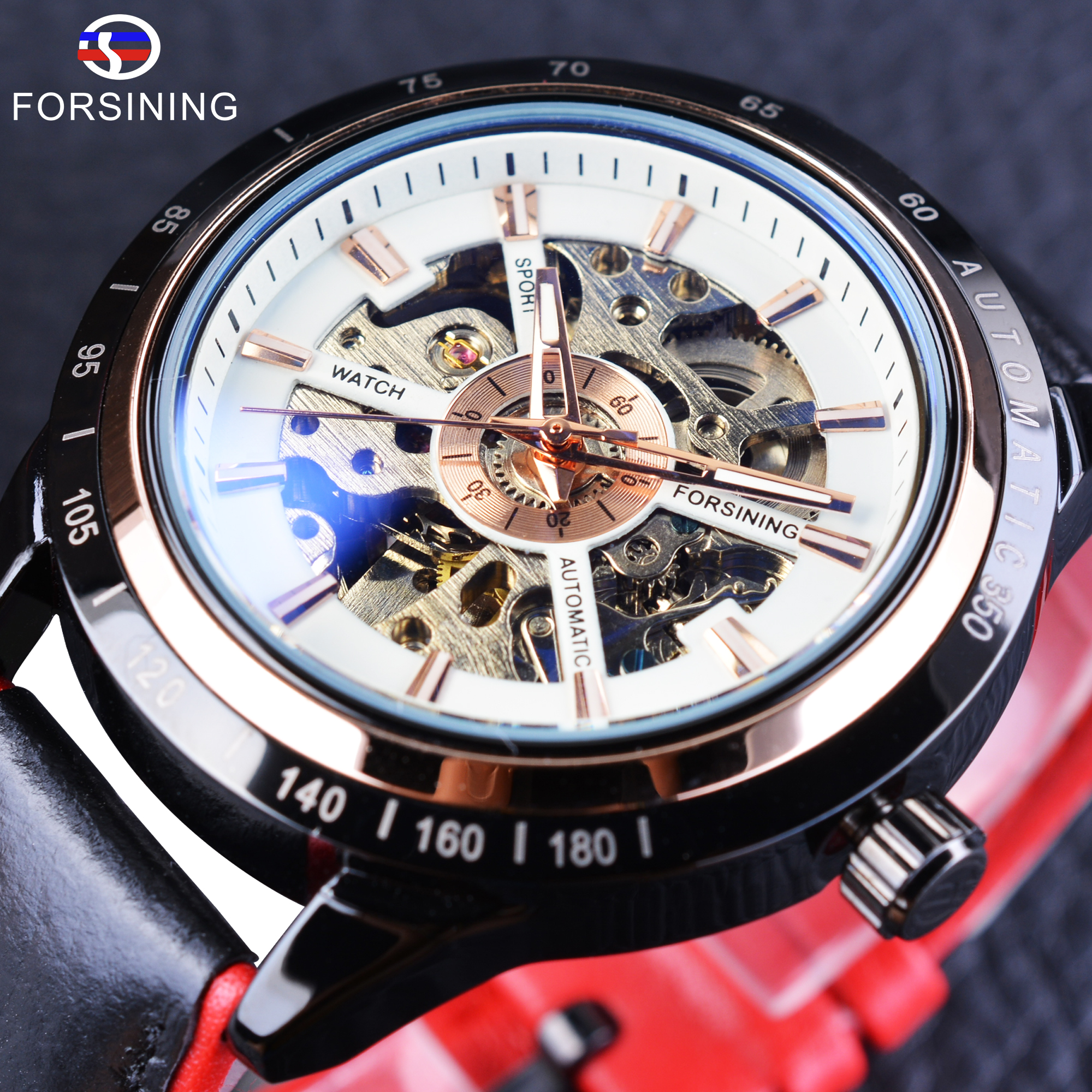 Forsining 2017 Sport Watches Waterproof White Skeleton Black Case Automatic Wrist Watch Men's Watches Top Luxury Brand Clock Men forsining 3d skeleton twisting design golden movement inside transparent case mens watches top brand luxury automatic watches