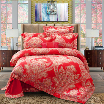 2017 Luxury Red wedding bedding sets Gold printing bed set double queen king duvet cover bed sheet set pillowcase