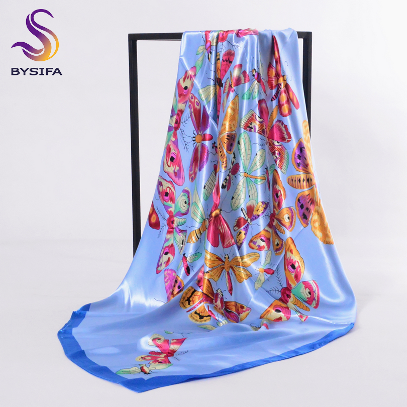 [BYSIFA] Brand Blue Butterfly Scarves 90*90cm Spring Autumn Accessories Women Satin Silk Scarf Winter Ladies Head Scarf Cape