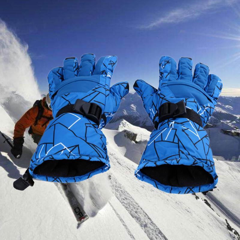 NEW 1 Pair Unisex Winter Skiing Gloves Snowboard Motorcycle Riding Windproof Waterproof Gloves Warm Cotton Lining