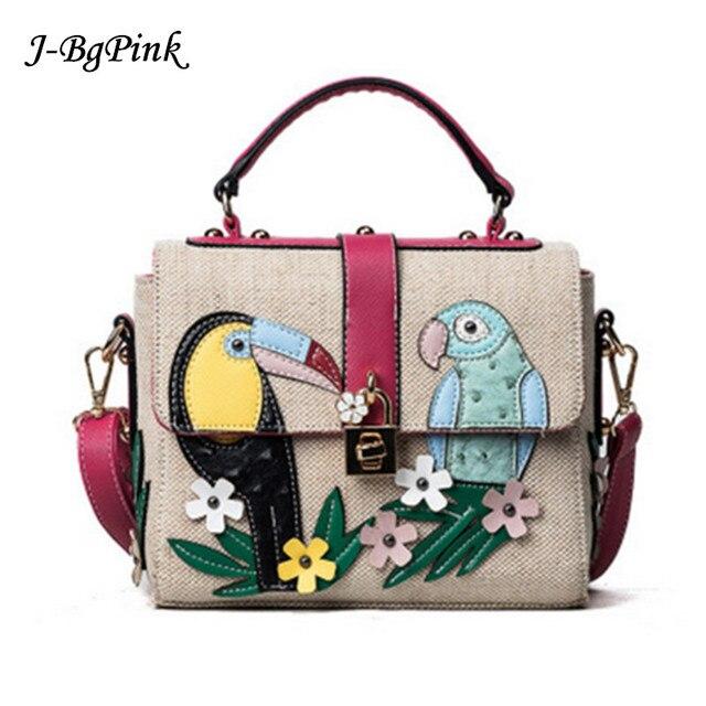 65318b87e8 Elegante signora pappagallo decalcomanie modello di borsa rivetti ricamo  sacchetto tessuto fiori di alta qualità blocco