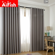 Solid Blackout Thicker Linen Shade Thermal Insulated Modern font b Curtains b font for Living Room