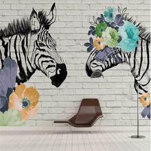 Современные Настенные обои с принтом зебры и цветов на заказ