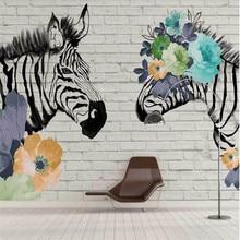 Custom wallpaper mural zebra flowers modern background wall - high-grade cloth