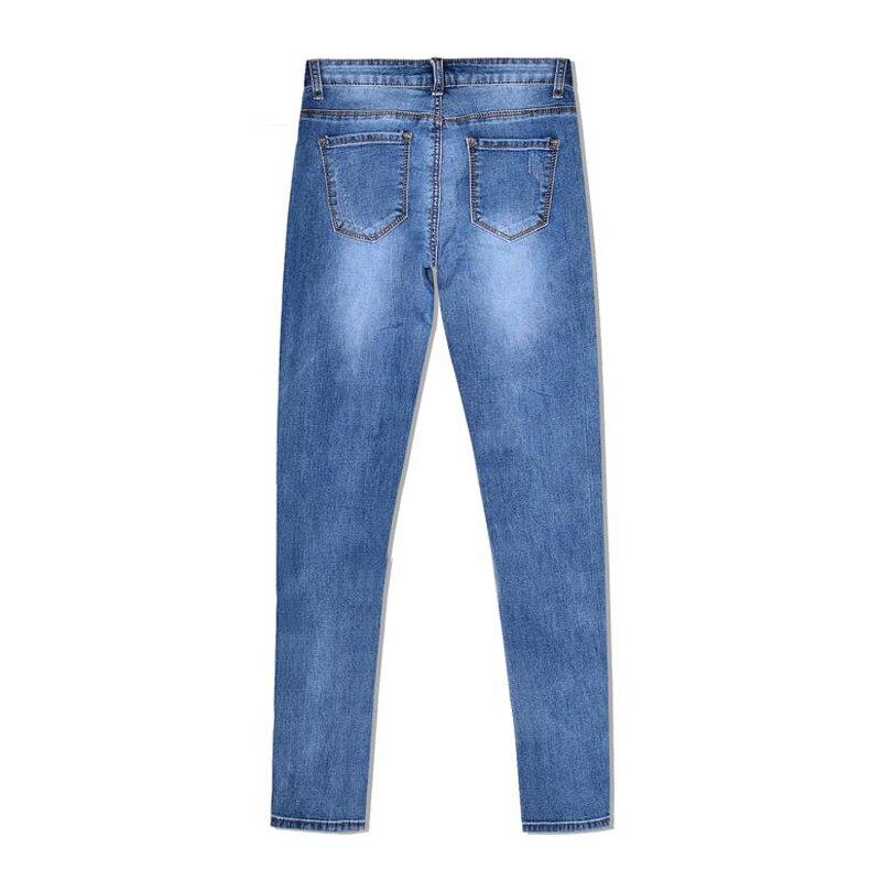 Pantalones vaqueros de mezclilla de longitud completa para mujer, pantalones de cintura baja, pantalones ajustados, talla grande y rayas laterales doradas 2019 - 5