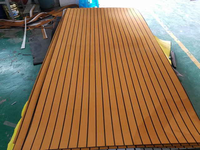Marine Boat Eva Teak Decking Sheet Light Brown With Black
