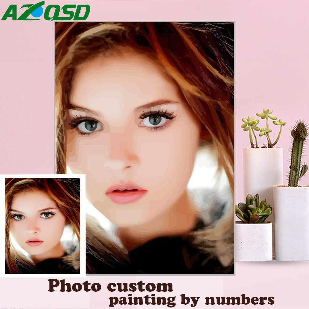 AZQSD Painting By Number Personality Photo Custom DIY Coloring By Numbers Acrylic Oil Paint Picture Drawing By Numbers Canvas(China)