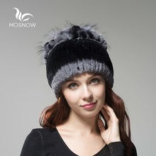 MOSNOW 2016 Rex Rabbit Fur Winter Hats Female For Women Vintage Flower Top Casual Solid Knitted Caps Skullies Beanies