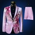 Freeship 100% реальные мужские светло-розовый/белый вышивка бисероплетение смокинг костюм/событие/студия/петь/этап производительность/куртка с брюками