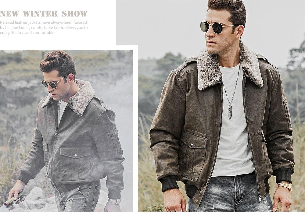 HTB1PqnBdjfguuRjy1zeq6z0KFXat FLAVOR Men's Genuine Leather Bomber Jacket Men Warm Real Pigskin Air Force Leather Jacket Removable Fur Collar Aviator Coat
