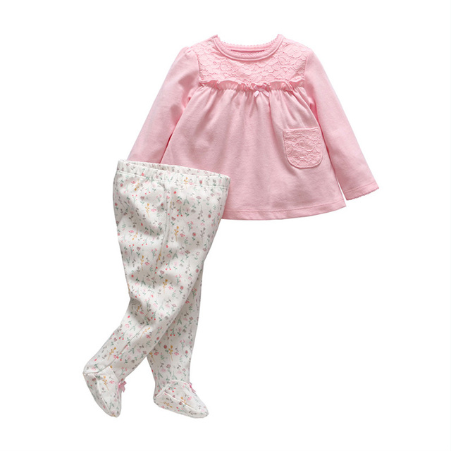 2018 New Tender Babies Spring baby girl clothes Flower Pattern long sleeve t shirt + pants suit newborn baby girl clothing set