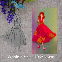 2019 New Arrival Beautiful Lovely Curly Dress Girl Cutting Dies Stencil DIY Scrapbook Embossing Decor Paper Card Craft 102X66mm 2019 new arrival lovely circle grass cutting dies stencil diy scrapbook embossing decorative paper card craft template 89x83mm