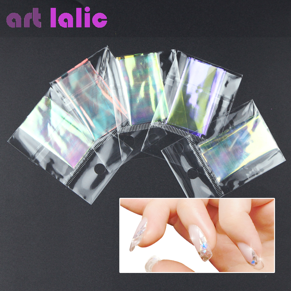 5 Sheets 3D Holographic Starry Sky Glitter Foils Finger Nail Art Mirror Stickers Glitter Stencil Decal DIY Manicure Design Tools mioblet 2g box mirror effect nail glitter powder shiny rose gold purple mirror chrome powder dust nails art pigment diy manicure
