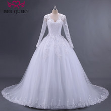 Ball Gown Embroider Appliques Pearls Long Sleeve Illusion Sheer Neck Arabic Wedding Dress Beads Plus Size Tulle Wedding Dresses