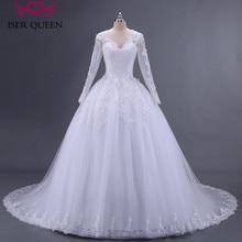 Ballkleid Sticken Applikationen Perlen Langen Hülse Illusion Sheer Neck Arabisch Hochzeit Kleid Perlen Plus Größe Tüll Hochzeit Kleider