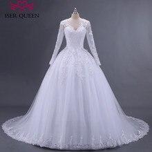 Vestido de baile bordado apliques perlas manga larga pura ilusión cuello árabe boda Vestido con cuentas tul talla grande vestidos de boda