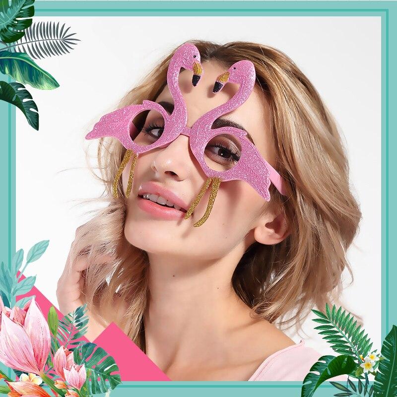 Tropiska festtillbehör Plastfesten glasögon Flamingo ananas - Semester och fester