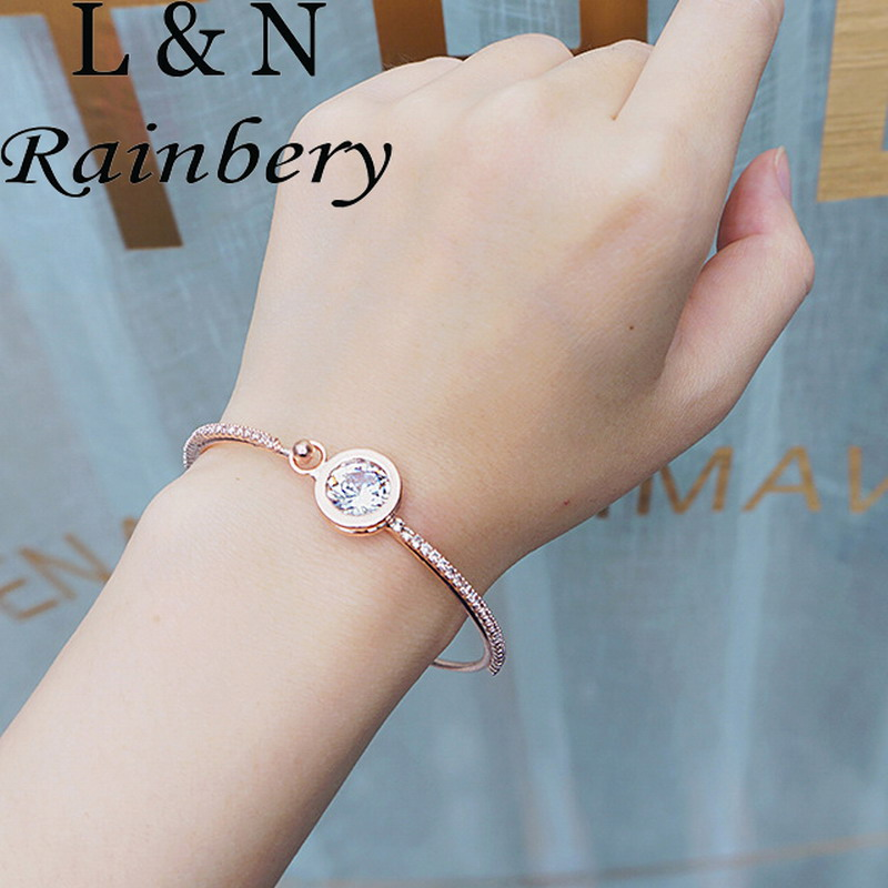 Rainbery Fashion Jewelry Gold Color Zircon Bangles Simple Thin Bracelet Pulseiras Feminina Bracelets & Bangles For Women