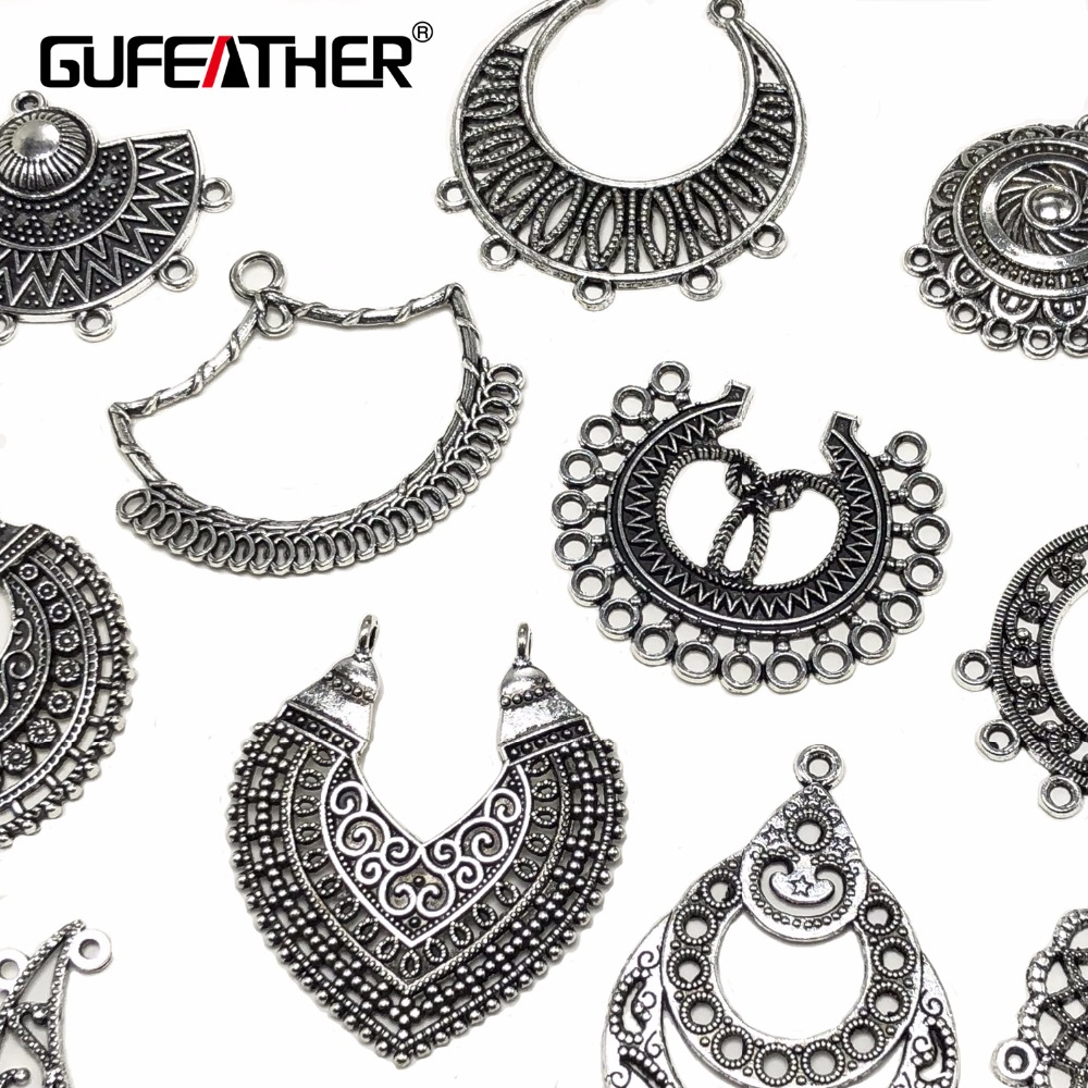 GUFEATHER M64/jewelry accessories/Alloy Earring Connector/Diy Handmade For Jewelry Findings Accessories/Vintage/2pc/bag m64 m 216pvava12fg