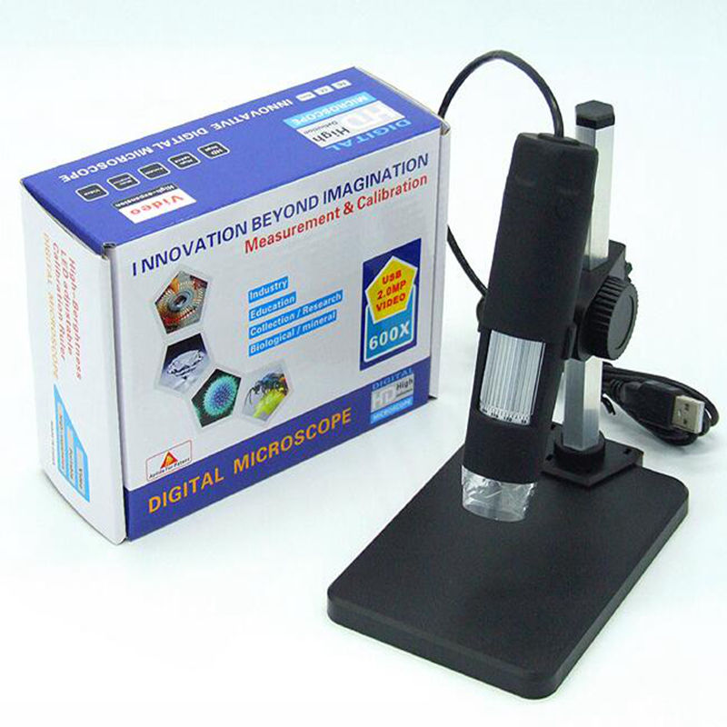 Digital USB Microscope 2MP 600X Portable Microscope with holder HD Endoscope Electronic Magnifier Camera  b010 p real digital microscope 300x 2mp skin check usb microscope magnifier camera digital hd manual focus microscope endoscope