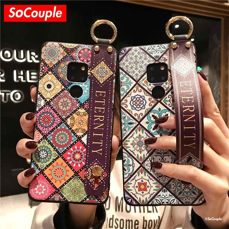 SoCouple Wrist Strap Soft TPU Telefoon Case Voor Huawei P30 P20 Pro P10 plus Mate 10 20 Pro 30 Nova 3i 5i Honor 10 20 Holder Case