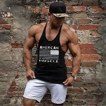 Fitness gyms tank tops for men bodybuilding stringer singlet golds shark clothing casual cotton striped undershirt printed flag