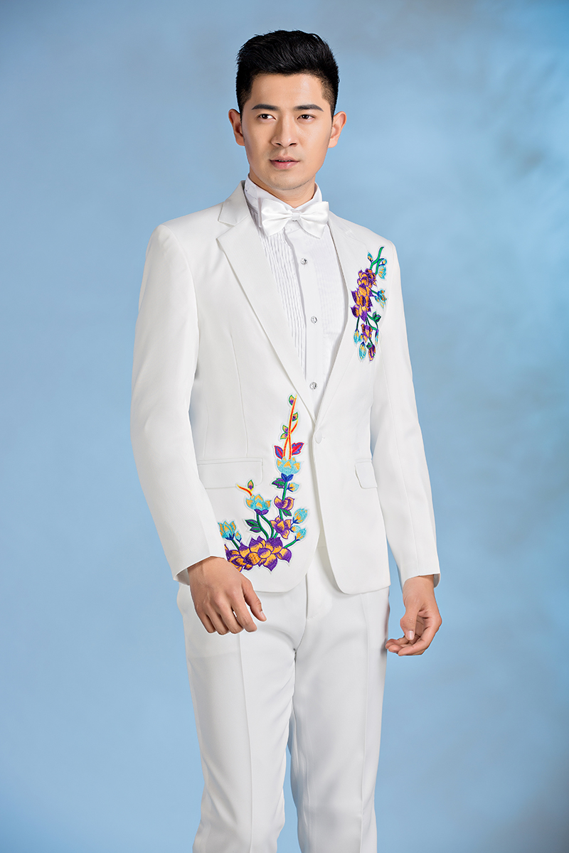 New chinese style men slim fit embroidery show suits mens wedding ...