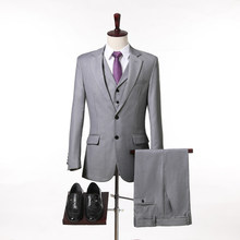 2018 New Arrival Custom made Light Gray Tailcoat Men Suit Set Slim Wedding Suits Mens gray Groom Tuxedos( jacket+Pants+vest+tie)(China)