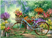bike flowers painting full diamond embroidery bead patterns square 5d diy Mosaic rhinestones needlework
