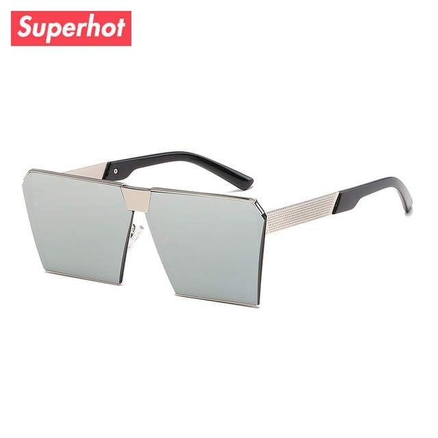 bf2172ab0ab7 Superhot Eyewear - Metal Square Frame Sunglasses Flat Top Sun glasses Shades  Modern Blue Silver Red