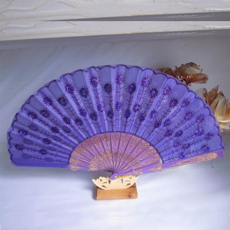 Bordado pavo real de la cola mano fan festival fiesta de tela colgando decoració