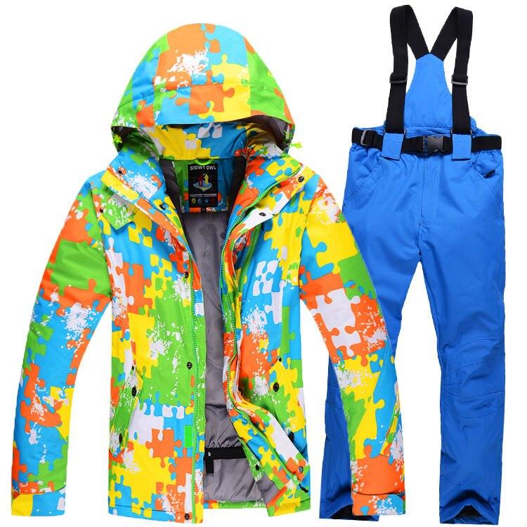 Prix pour Ski Vestes Costume Hommes de Sport D'hiver En Plein Air Étanche Randonnée Camping Ski Vestes + Pantalon Épais Vêtements q1SKT17