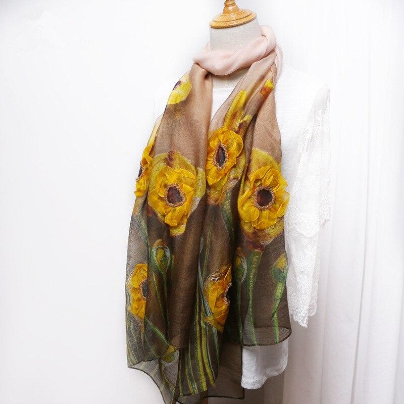 2018 nouvelle écharpe soie laine mélange fleur brodé dames écharpe à la main en trois dimensions ongle fleur soie écharpe mince châle
