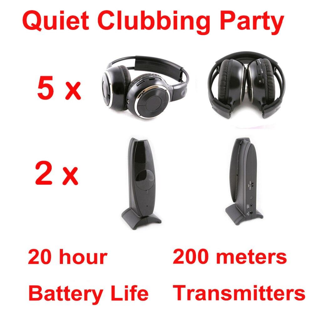 Silent Disco Complete System Black Folding Wireless Headphones Quiet Clubbing Party Bundle 5 Headphones 2 Transmitter