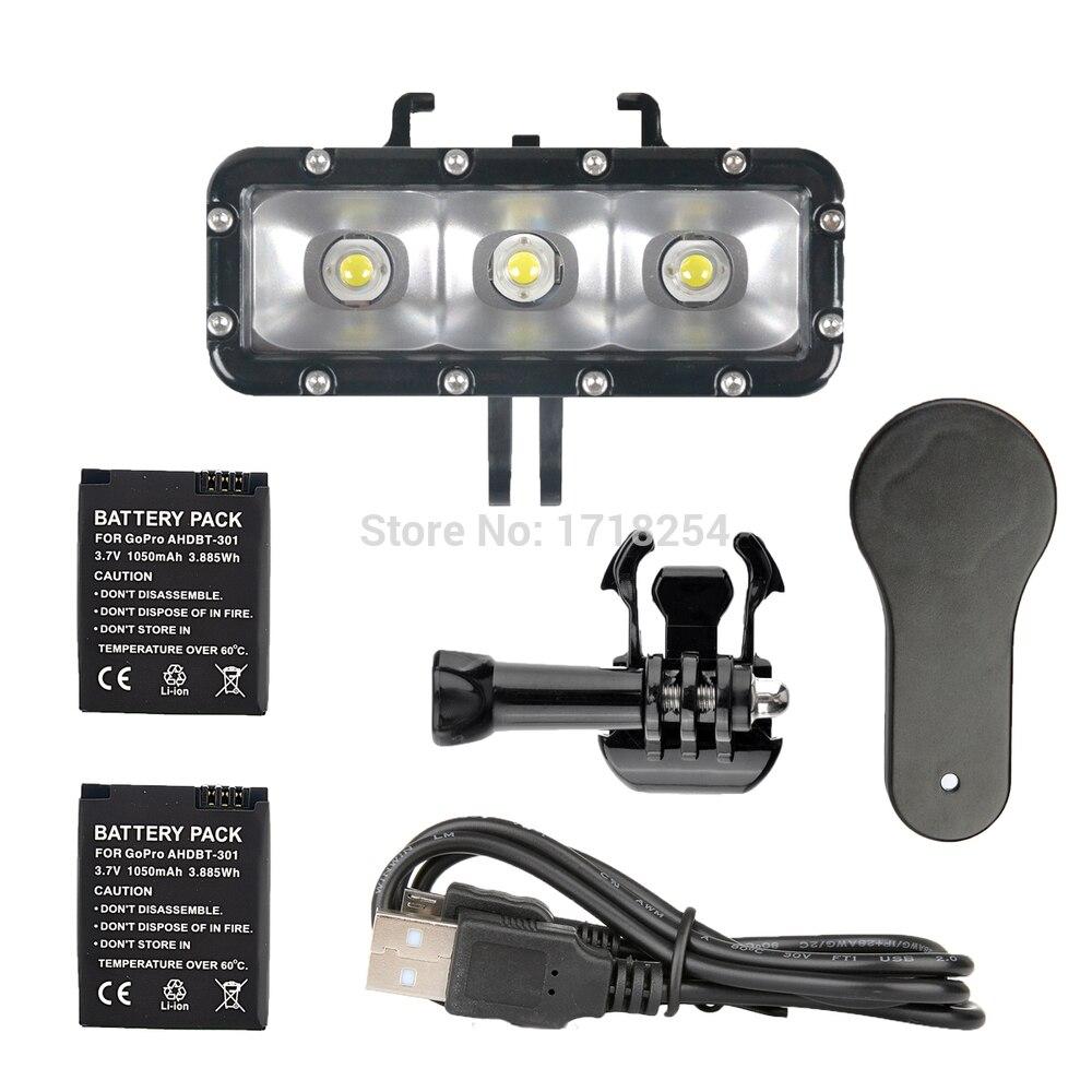 Accessoires Go Pro LED étanche lumière de plongée sous-marine vidéo gopro + fixation boucle pour GoPro Session/Hero4/3 +/3/Xiaomi