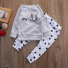 2pcs Newborn Toddler Kid Baby Clothes Long Sleeve Top Pants Leggings Outfits Set