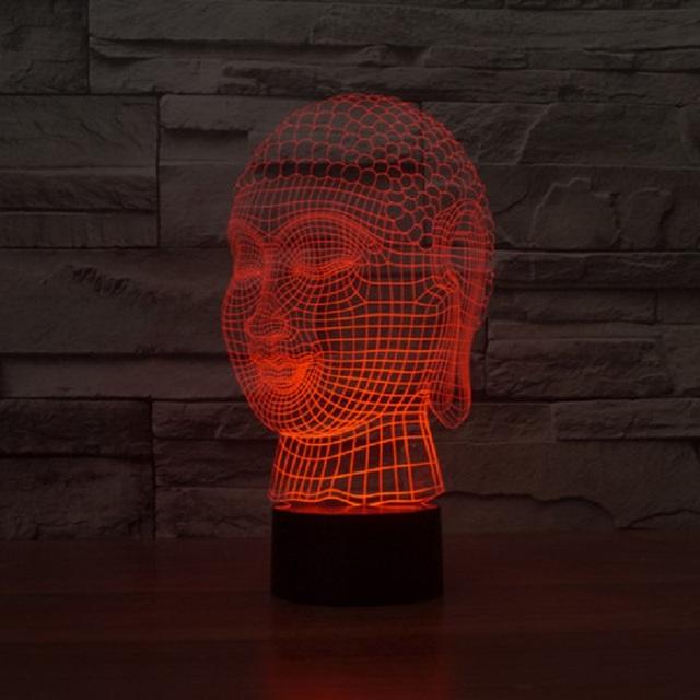 Cabeça de Buddha Tathagata Acrílico luz LED 3D luz da noite da lâmpada Toque sensor de luz USB luz 7 mudança de cor para as crianças como presente IY803469