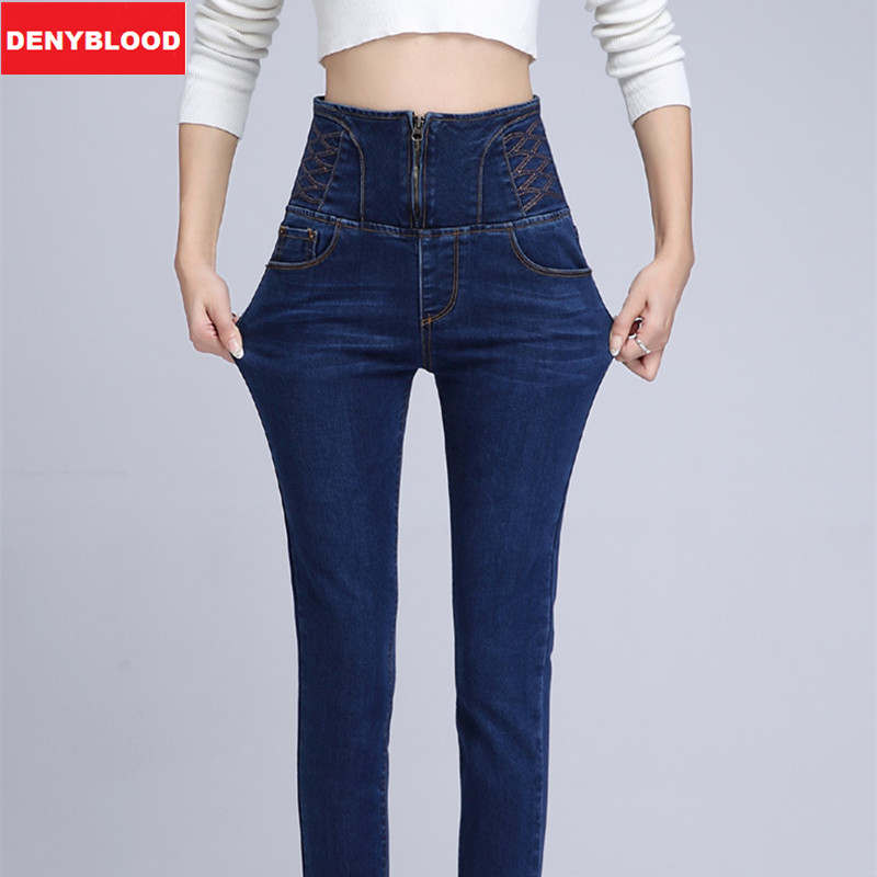 High Waist Skinny Jeans Women Stretched Slim Fashion American Style Plus Size Denim Long Pencil Pants Black Blue Black 3033 plus size skinny high waist jeans