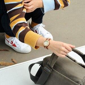 Image 2 - BOBO BIRD drewniany zegarek kobiety Relogio Feminino luksusowa bransoletka z drobnym drewnianym paskiem zegarki kwarcowe V M19