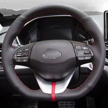 цена на High Quality cowhide Top Layer Leather handmade Sewing Steering wheel covers protect For Hyundai Kona Kauai Encino