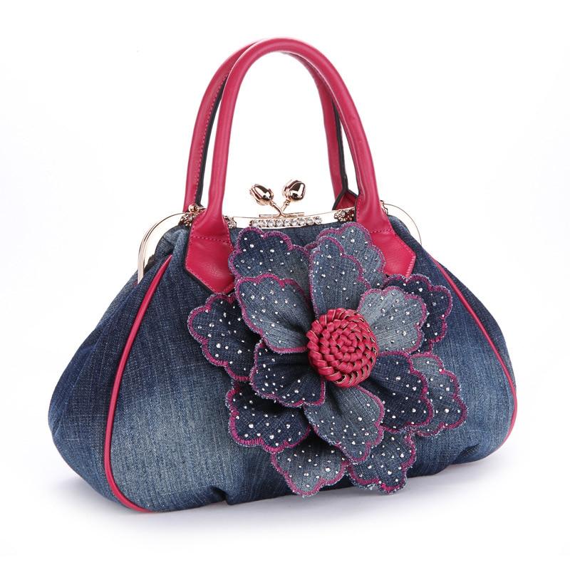 ФОТО bailar women's handbags shoulder messenger bags Classic retro denim with a flowers famous brand fashion high quality hot sale