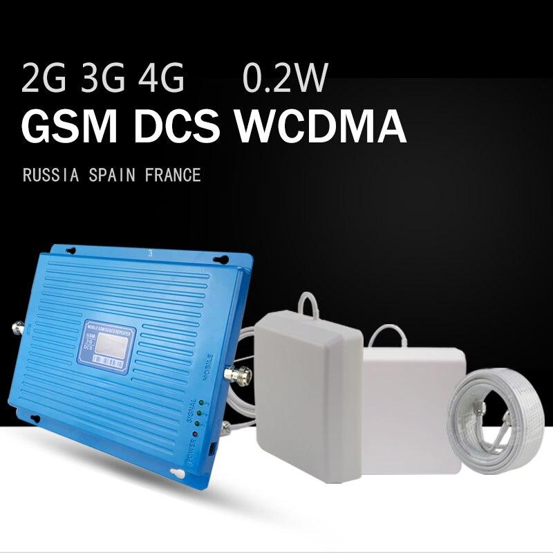 350sqm 2G 3G 4G Tri bande amplificateur de Signal de téléphone portable GSM 900 DCS LTE 1800 WCDMA 2100 MHz répéteur 70dB écran LCD 4G LTE Booster