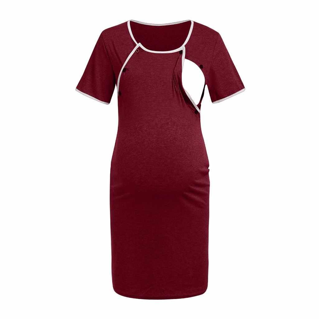 Платье для беременных платье для беременных с коротким рукавом для кормления ребенка грудью ночная рубашка Беременность платье Vestidos #
