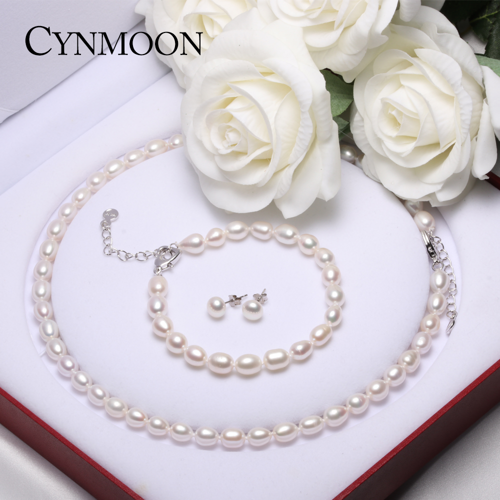 Pearl Jewelry Sets Real Natural Freshwater Pearl Necklace Earring Bracelet 925 Sterling Silver Jewelry for Women