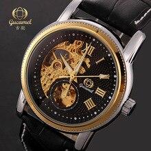 2016 Luxury Brand Gucamel Автоматические Механические Часы Мужчины Водонепроницаемый Световой Tourbillon Часы Календарь Кожа Золото Наручные Часы
