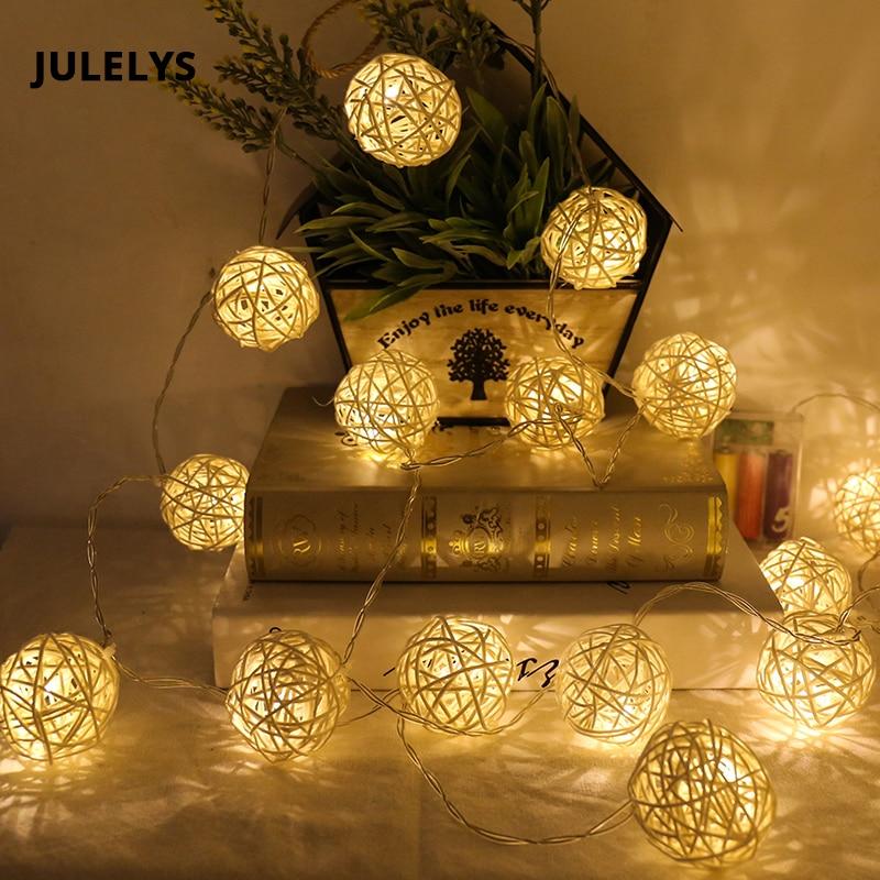 JULELYS 10M38 Thai Lanterns Rattan Ball LED String Lights Decoration For Wedding Gerlyanda Christmas Garland Window Fairy Lights
